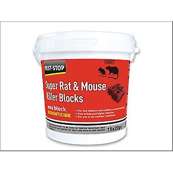 Pest Stop Super Rat/ Mouse Killer Wax Block 15 x 20g PSWB04