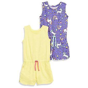 Spotted Zebra Toddler Girls' 2-Pack Knit Sleeveless Tank Rompers, Birds/Turqu...