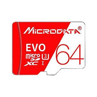 מיקרו-נתונים במהירות גבוהה U3 64GB כרטיס זיכרון TF אדום ולבן (מיקרו SD)