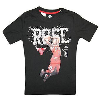 Adidas NBA Chicago Bulls Rose Kids Short Sleeve T Shirt Top Black Z27930 A3D