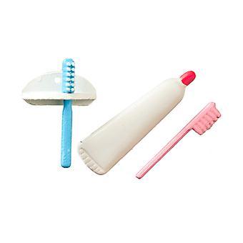 Puppen Haus Zahnbürste Zahnpasta und Halter Miniatur Bad Zubehör Set