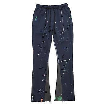 Sweatpants, Patchwork Graffiti Flare Pants, Men Elastic Waist Jogger Trousers,