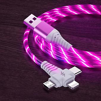 Ilano 3 in 1 Luminous Charging Cable - iPhone Lightning / USB-C / Micro-USB - 2 Meter Charger Data Cable Pink