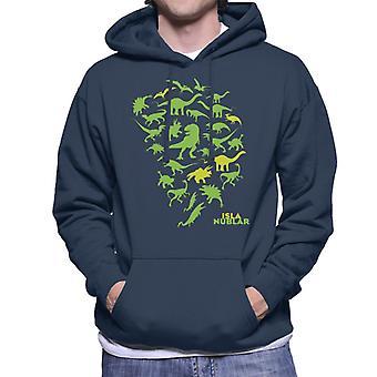 Jurassic Park Isla Nublar grün Dinosaurier Silhouetten Männer's Kapuzen Sweatshirt