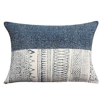 24 x 16 almohada de acento de algodón tejido a mano con estampado de bloque, gris y blanco