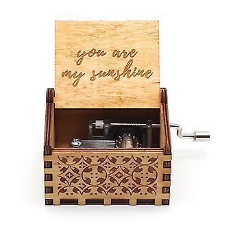 Antique Wooden Hand Crank Happy Birthday Music Box