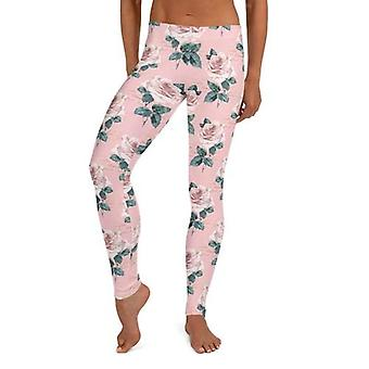 Rosa blommiga leggings