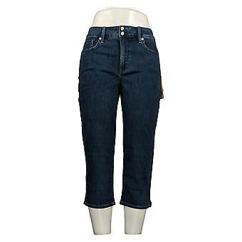 NYDJ Women's Petite Jeans Cool Embrace Skinny Crop Side Slit Blue A377692