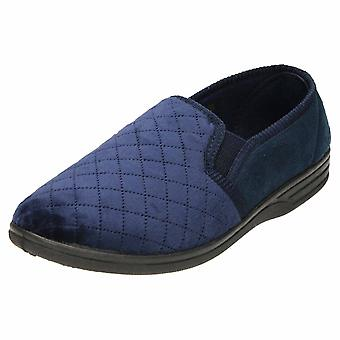 JWF Full Slippers House Shoe Quilted Twin Gusset Blue