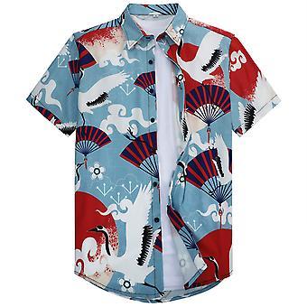 Allthemen Men's 3D tlačená košeľa Japonský štýl Classic Lapel Top s krátkym rukávom