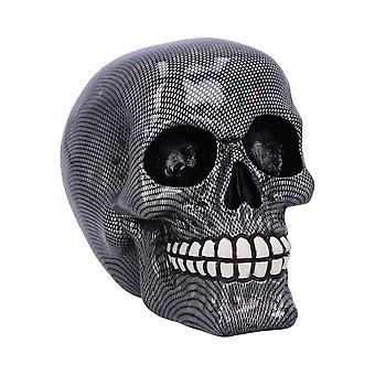 Nemesis Now Holographic Silver Fishnet Skull Ornament 16.5cm