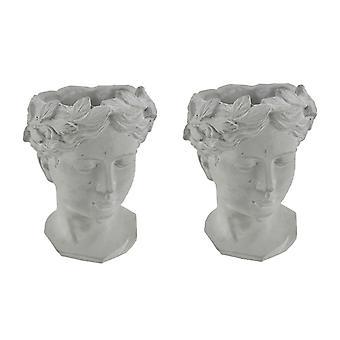 Classic Greek Grey Lady Indoor Outdoor Cement Head Planters Set of 2