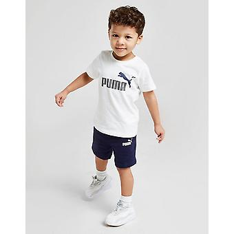 New Puma Boys' Essential Logo T-Shirt/Shorts Set from JD Outlet White