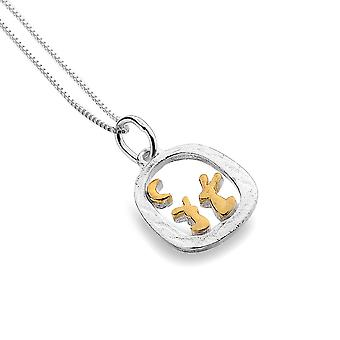 Sterling Silver Pendant Necklace - Origins Rabbits + Gold Plated In Frame