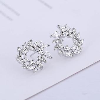 Joyería de pendientes de diamantes redondos de primera ley, moda pendientes brincos
