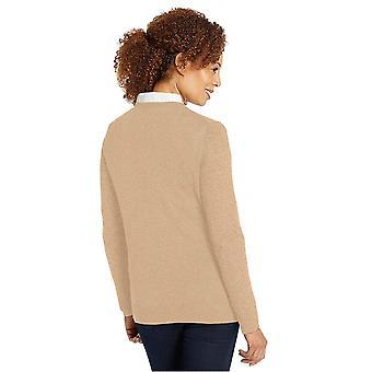 Essentials Women's Lichtgewicht V-Neck Sweater, Camel Heather, Large