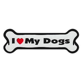 "Magnet, Dog Bone, I Love My Dogs, 7"" X 2"""