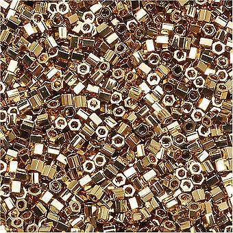 ميوكي ديليكا هيكس قص حبات البذور، 15/0 الحجم، 4 غرام، 24K الذهب الفاتح مطلي DBSC034
