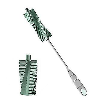Green baby bottle brush scrubber longbottle brush with rubber grip handle x1662