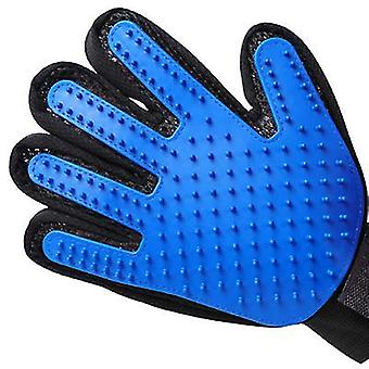 A pair blue silicone glove for pet hair brush, cleaning, massage, grooming az4797