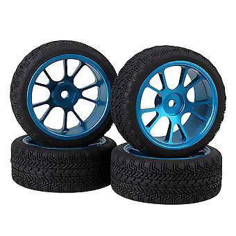 עבור 4pcs RC1:10 על הכביש מכונית אחיזה גבוהה גומי צמיג & מסגסוגת כחולה 10-דיבר גלגל רים WS5933