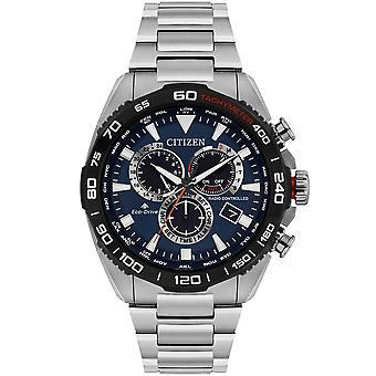 Borger Cb5034-58l Herre Eco-drev Radio Controlled A.t. Chronograph rustfrit stål Watch