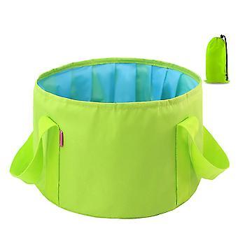 Green 14l oxford cloth 14l portable folding basin outdoor camping portable bucket homi4361