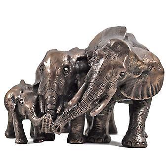 Familj av elefanter kall gjuten bronsskulptur 14cm