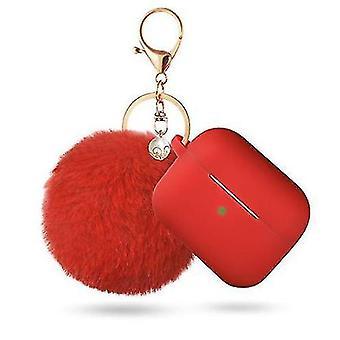 Προστατευτική περίπτωση pods αέρα με την κλειδοθήκη και pompom (κόκκινο)