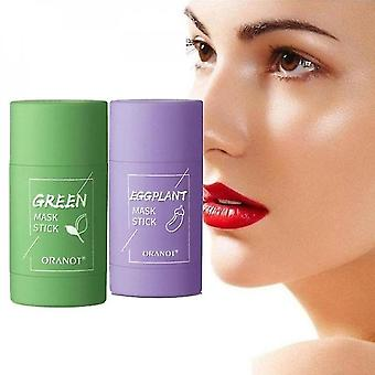 rensing grønn te pinne maske olje kontroll anti-akne hudpleie bleking (grønn te + aubergine)