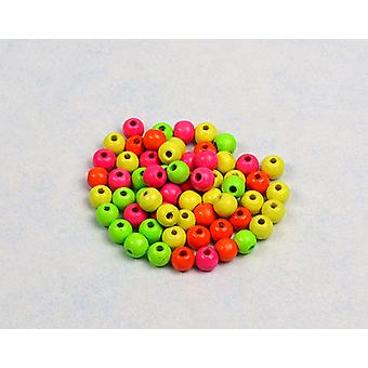 LAST FEW - 6mm Assorted Neon Wooden Threading Beads Adults Crafts - 65pk