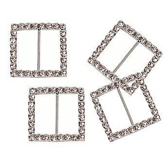 4 Medium Square Diamante bånd spenne glidebryteren