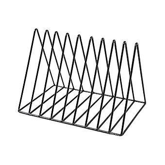 Nordic Style Ornaments Triangle Black Book Stand Metal Telescopic Folding Bookshelf Magazine Rack