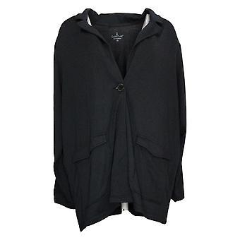 Cuddl Duds Women's Lightweight Comfort Blazer Patch Pockets Black A391574
