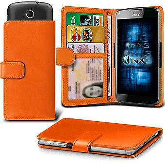 (Orange) Samsung Galaxy Xcover 4 Case Universal Adjustable Spring Wallet ID Card Holder with Camera Slide and Banknotes Slot