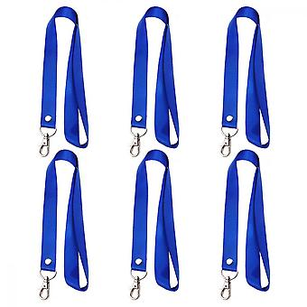 Id Card Lanyards, 6pcs Polyester Neckband For  Badge Holder Retainer Keychain, Blue