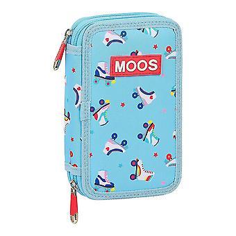 Triple Pencil Case Moos Rollers Multicolour Light Blue (28 pcs)