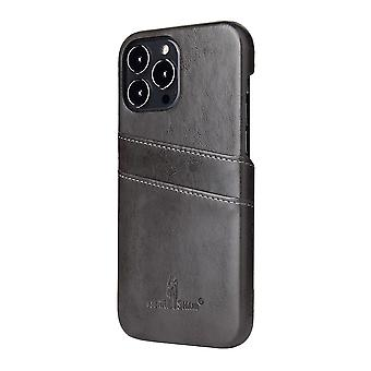 For iPhone 13 Pro Case Deluxe Lær Lommebok Bakskall Slank Deksel Grå