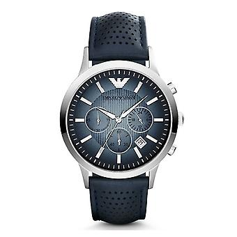 Reloj de cuero azul cronógrafo clásico