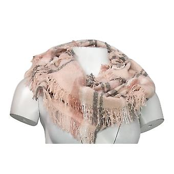 Unbranded Sweater Knit Plaid Infinity w/ Fringed Trim Pink Scarf
