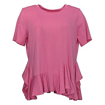 DG2 von Diane Gilman Damen Top Asymmetrische Rüschen-Hem Tee Pink 590159