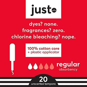 JUST Cotton Core Tampons with Plastic Applicators, Regular, 20 Count