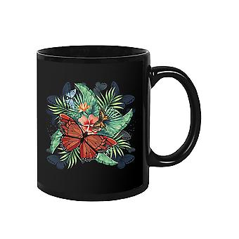 Flower With Butterflies Mug -SPIdeals Designs