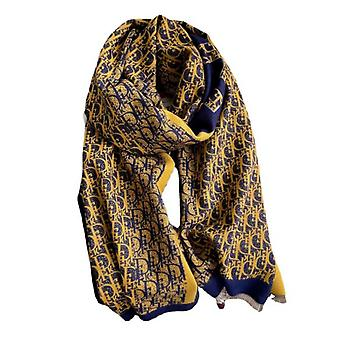 Jacquard Pashmina Scarf With Letter Print Fringed Shawl Fashion Long Warm Thicken Wrap For Lady