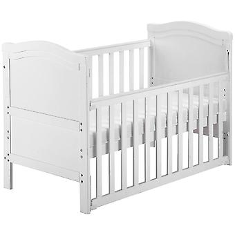 Solid White Wood Toddler Bed With Foam Mattress