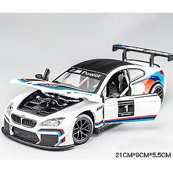 Toy cars 1:24 m6 gt3 le mans racing free wheel high gloss sports racing model white