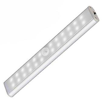 24led Double Row Infrared Sensor Intelligent Night Light Cabinet Light Usb Charging Cabinet Light Toilet Strip Light Wireless, Usb Rechargeable, Magne