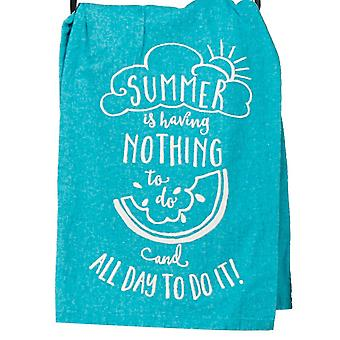 Summer is Having Nothing to Do Teal Blue Krinkle Flour Sack Kitchen Dish Towel