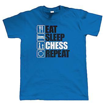 Spis søvn skak gentagelse, Herre sjove intellektuelle T shirt, gave far