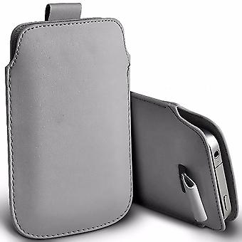"""i-Tronixs Vodafone Smart V8 (5.5"""") Protective Faux Leather Pull Tab Pouch Case Cover - Grey"""